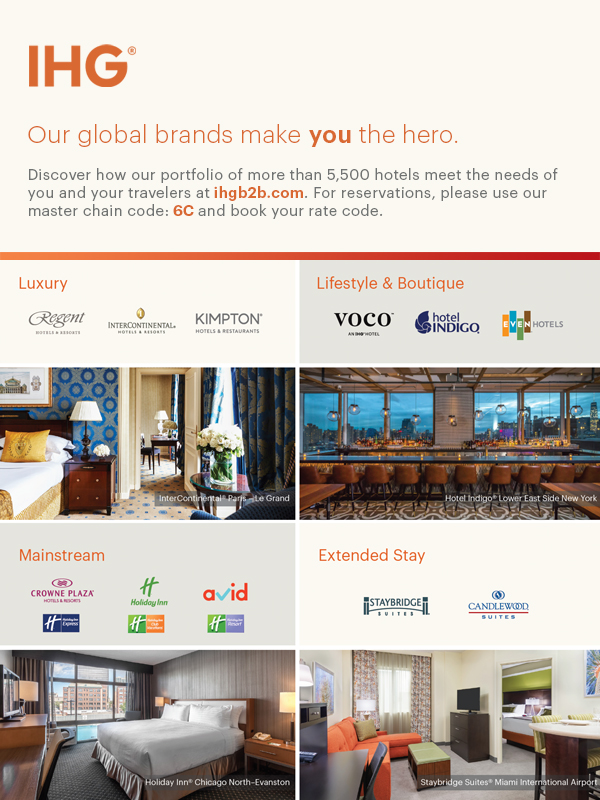 IHG | Our global brands make you the hero. Discover how our portfolio of more than 5,500 hotels meet the needs of you and your travelers at ihgb2b.com. For reservations, please use our master chain code: 6C and book your rate code.